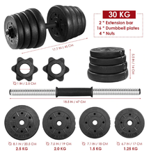 Load image into Gallery viewer, 30kg (66 lb each side) Dumbbell Weight Set 2pcs Dumbbell Adjustable Fitness Dumbbell Set