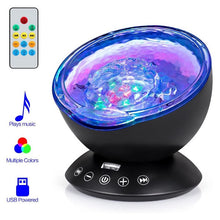 Load image into Gallery viewer, USB LED Star Night Light Music Starry Water Wave LED Projector Light Bluetooth Projector Sound-Activated Projector Light Decor
