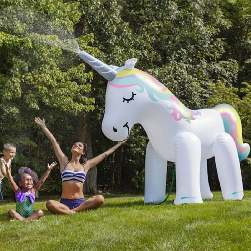 Giant Inflatable Unicorn Water Spray Pool Toys Swimming Float Outdoor Fountain Beach Party Summer Toys