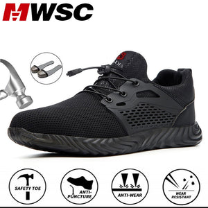 MWSC Indestructible and Invulnerable Steel Shoes - Work Safety Shoes Men Breathable Steel Toe and Steel Mesh Working Boots Anti-smashing