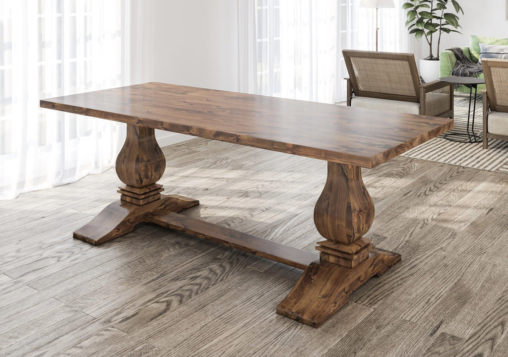 "7' x 37"" Heirloom Pedestal Table in Tuscany Finish with table top knots filled."