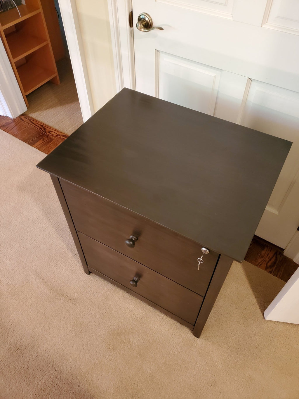 2 Drawer Filing Cabinet with lock on top drawer in Tobacco finish.