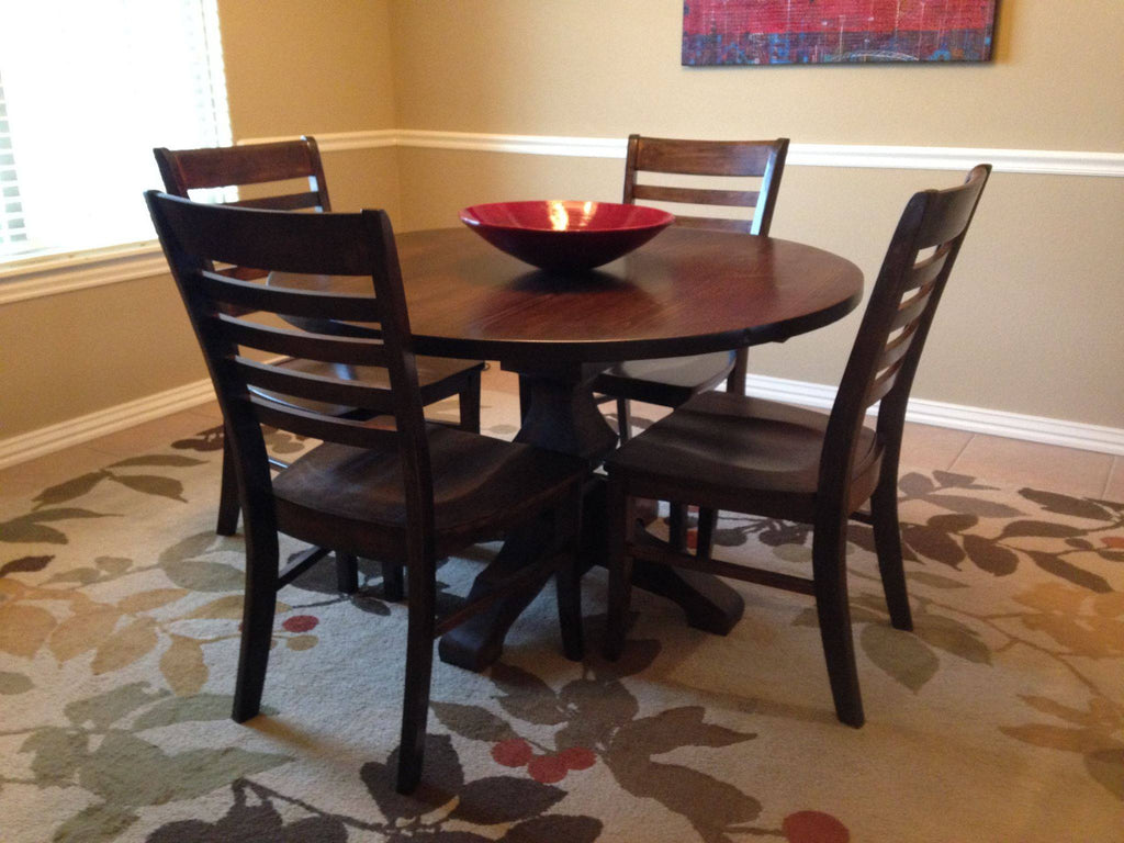 Thomas Wood Dining Chairs stained Kona with a Round Pedestal Table