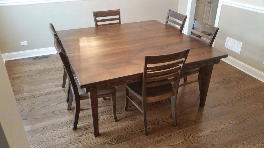 Thomas Wood Dining Chairs in Tobacco Finish with a Square Farmhouse Table