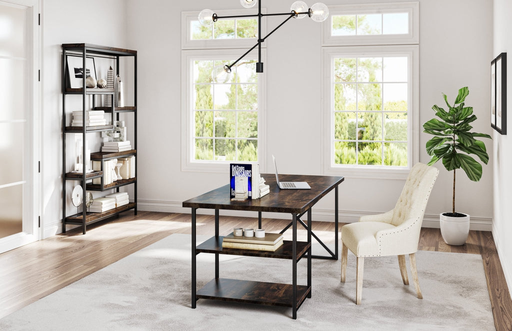 Steel and Wood Desk and Steel and Solid Hardwood Arlo Shelving Unit in our Tobacco Finish