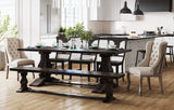 "7' L x 37"" W Heirloom Table and bench in Charred Ember finish. Pictured with our Grace and Anna chairs."