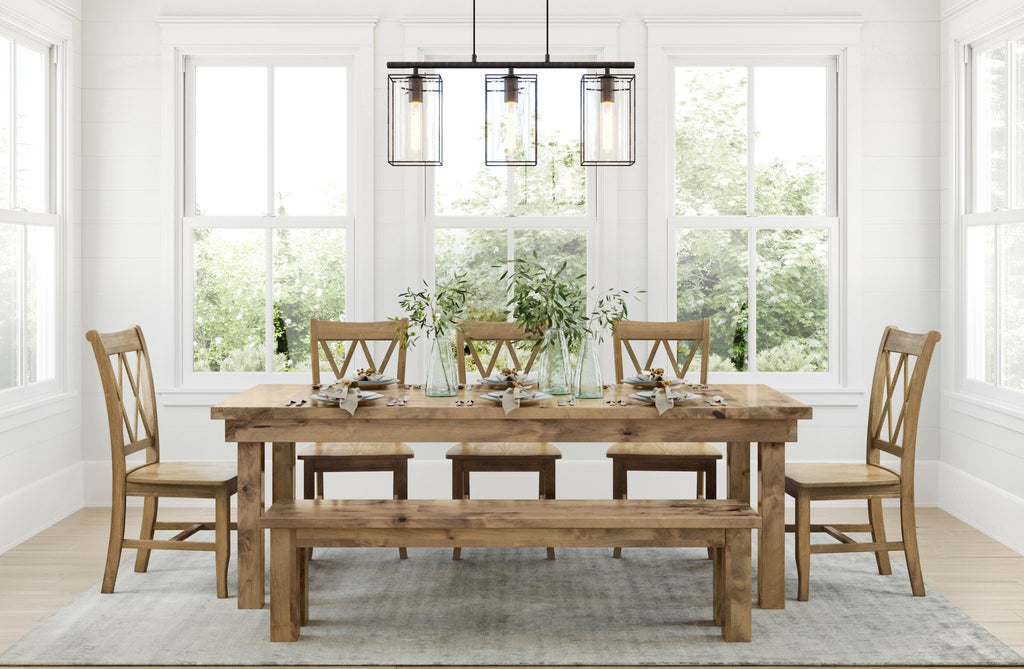 "7' L x 37"" W Farmhouse Table - Hardwood, Boarded Look with End-Caps top style, Farmhouse Bench for 7' table both with top knots filled, and Double X-Back Dining Chairs all in Harvest Wheat Finish."