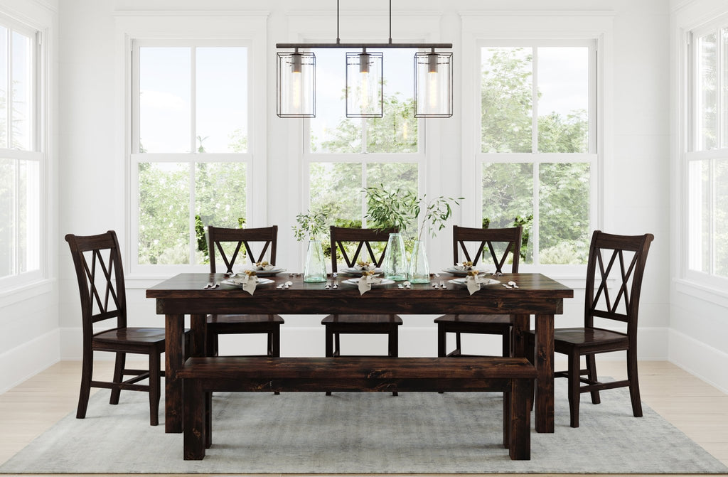 "7' L x 37"" W Farmhouse Table - Hardwood with Jointed top style, Farmhouse Bench for 7' table both with top knots filled, and Double X-Back Dining Chairs all in Tobacco Finish."