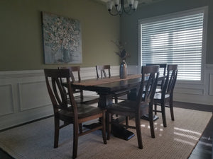 "6' - 8' Expandable Heirloom Table at 37"" wide with a jointed smooth top in Tobacco Finish. Pictured with our Elizabeth Chairs."