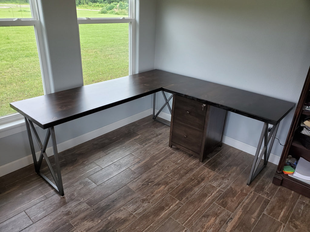 "Steel and Wood Corner L Shaped Desk with Filing Cabinet 78"" x 24"" with return measuring 48"" x 24"". Customized with legs on right and file cabinet on left. Built in Alder with a Tobacco Finish with an Industrial Steel Base."