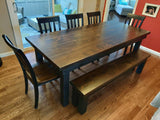 "For 6.5' Table Farmhouse Bench in Tobacco Finish / Painted Black Base and open natural knots.  Also pictured 6.5' x 37"" Farmhouse Table - Hardwood in Tobacco Finish / Painted Black Base with Boarded Look - Grooved Top Style and open natural knots."