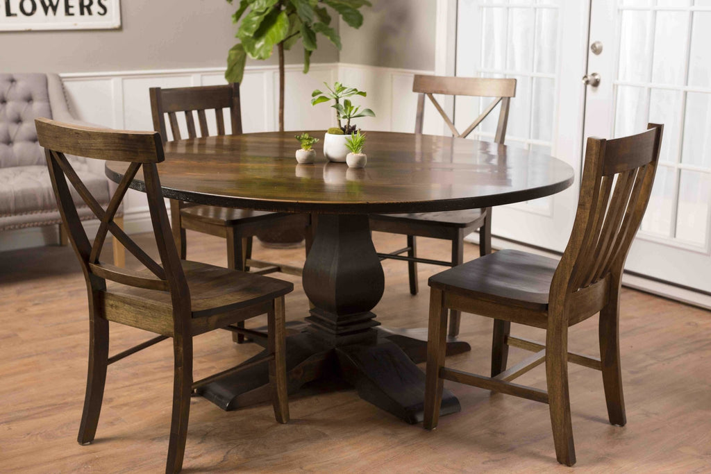 Henry Wood Dining Chairs in Tobacco Finish paired with a Round Heirloom Pedestal Table and X-Back Dining Chairs.