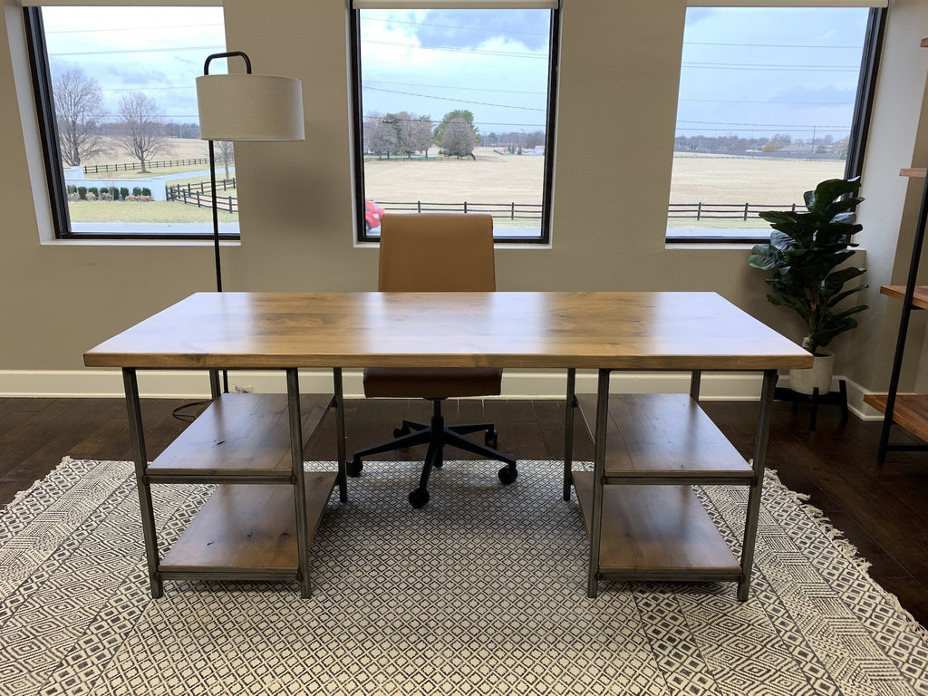 6' L Urban Industrial Computer Desk in Harvest Wheat Finish