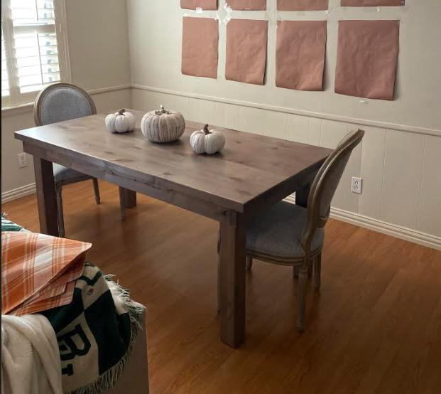 "6' L x 36"" W x 30"" H Farmhouse Table - Hardwood, Jointed Top in Barn Wood Finish with Filled Top Knots."
