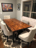 Fulton Modern Industrial Table in Tuscany finish.