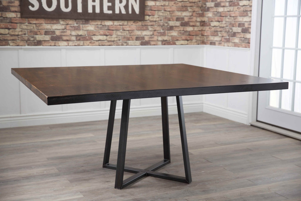 "60"" Square Watson Industrial Steel Pedestal Table in Tobacco Finish."