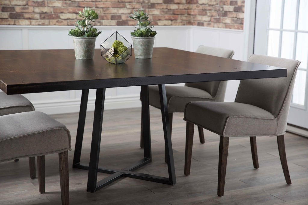 Learn more about the Square Watson Industrial Steel Pedestal Table from James+James