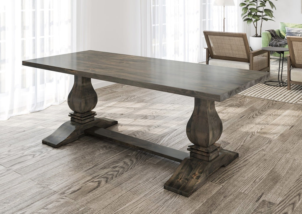 "7' x 37"" Heirloom Pedestal Table in Deep Grey Finish with table top knots filled."