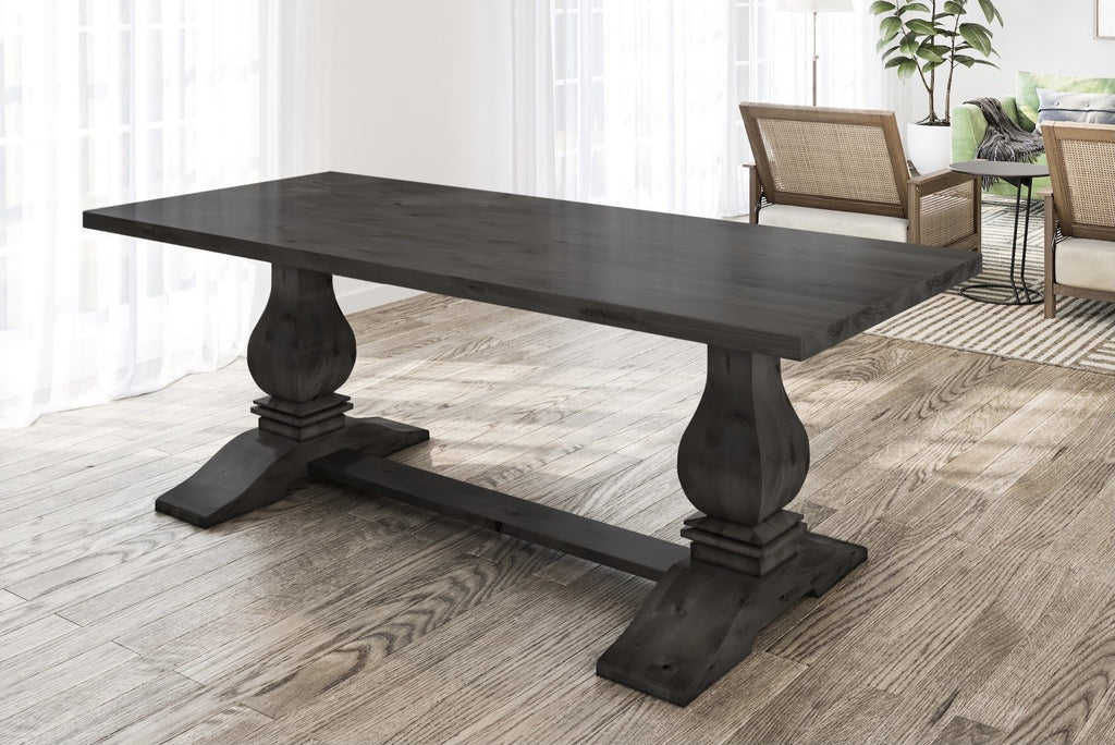"7' x 37"" Heirloom Pedestal Table in Charred Ember Finish with table top knots filled."
