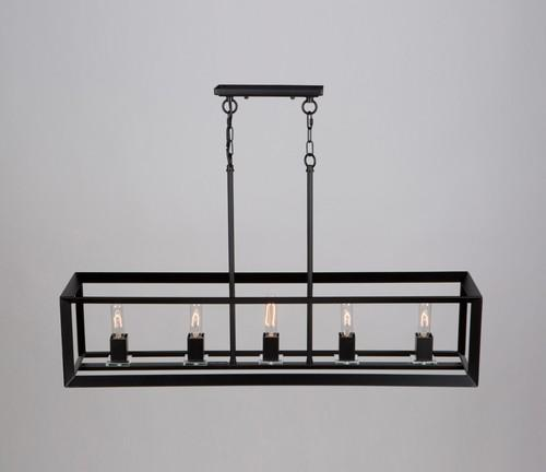 Modern 5 Light Matte Black Chandelier