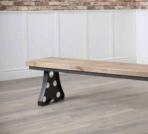 Amelia Industrial Dining Bench in Harvest Wheat Finish.