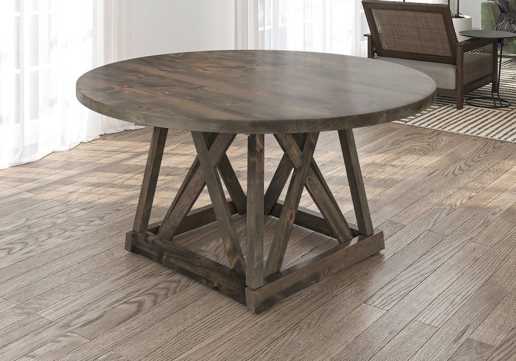 Julia Round Dining Table with filled top knots in Deep Grey finish