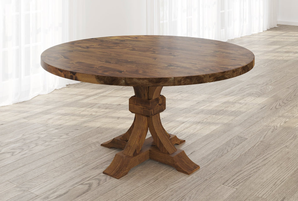 Violet Hardwood Round Table with table top knots filled in Tuscany finish