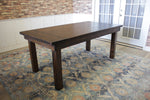 Farmhouse Table - Hardwood in Tobacco Finish with Boarded Look - Grooved top with Endcaps and Tobacco Finish base.