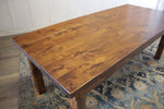 Farmhouse Table - Hardwood in Tuscany Finish with Boarded Look - Grooved top and Tuscany Finish base.