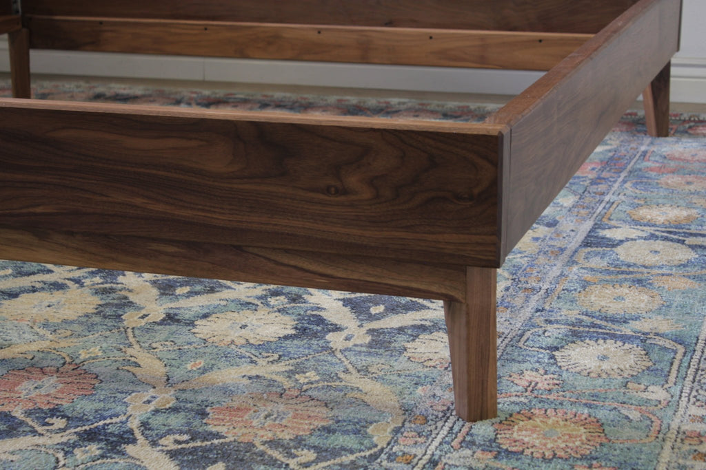 Modern Solid Black Walnut Bed in Satin Finish On Black Walnut - No Stain - Satin Finish