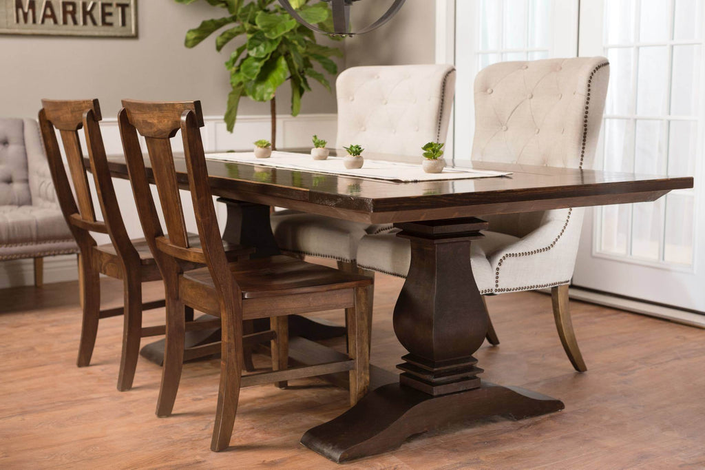 Back view of the Grace kitchen solid wood dining chair. Pictured with our Eloise chairs, Heirloom pedestal table, settee, and more.