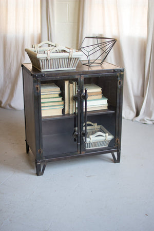 Metal Cabinet with Two Glass Doors