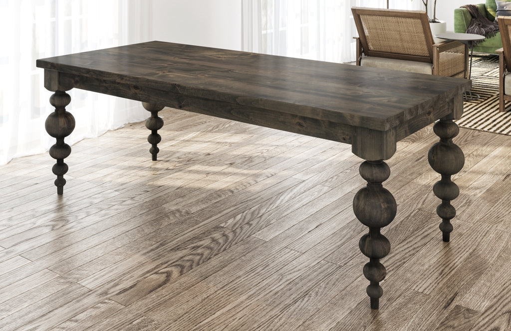 Olivia Turned Leg Table with table top knots filled in Deep Grey finish