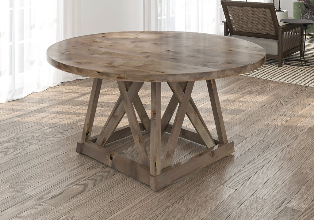 Julia Round Dining Table with filled top knots in Barn Wood finish