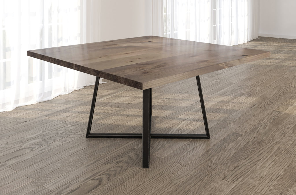 Square Watson Industrial Steel Pedestal Table with Filled Knots in Barn Wood finish.