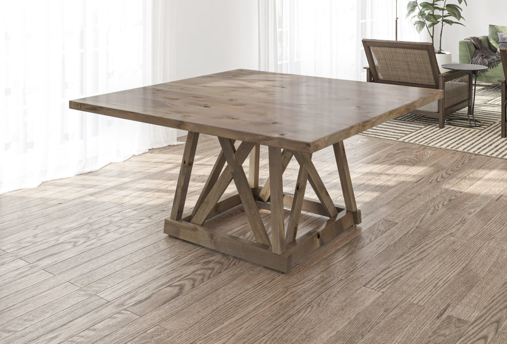 Julia Square Dining Table with Filled Knots in Barn Wood Finish