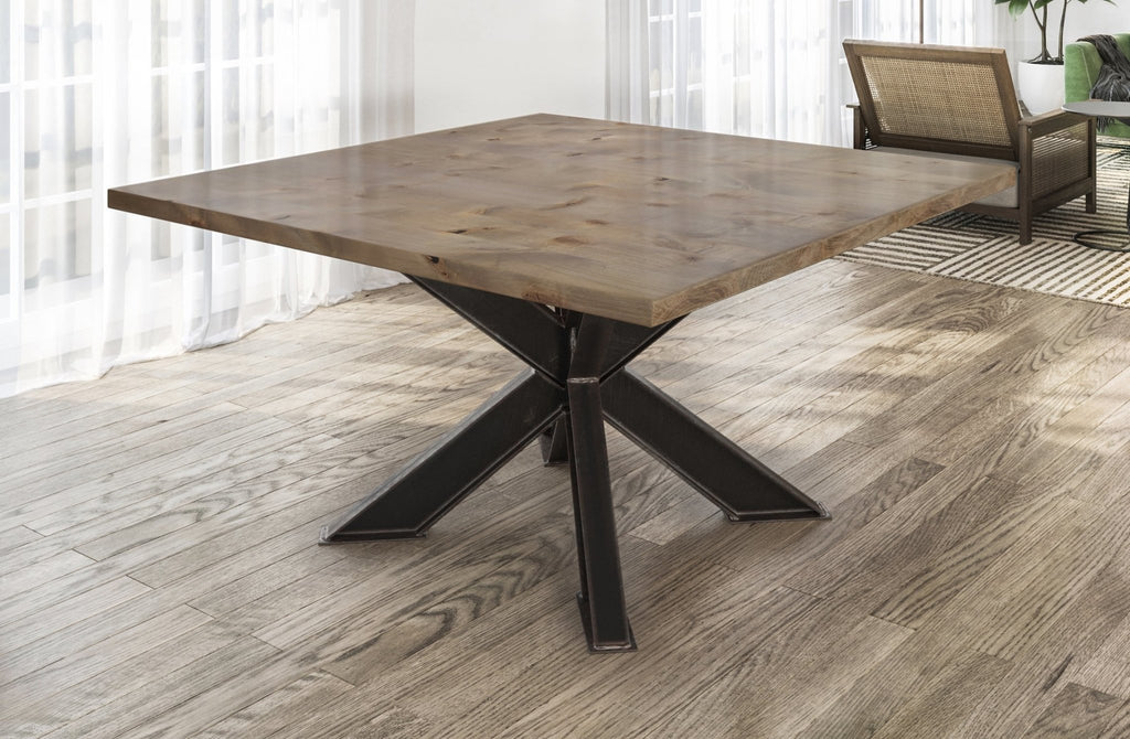 Square Shiloh Industrial Pedestal Table in Barn Wood Finish