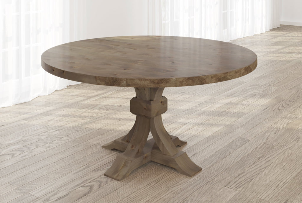Violet Hardwood Round Table with table top knots filled in Barn Wood finish