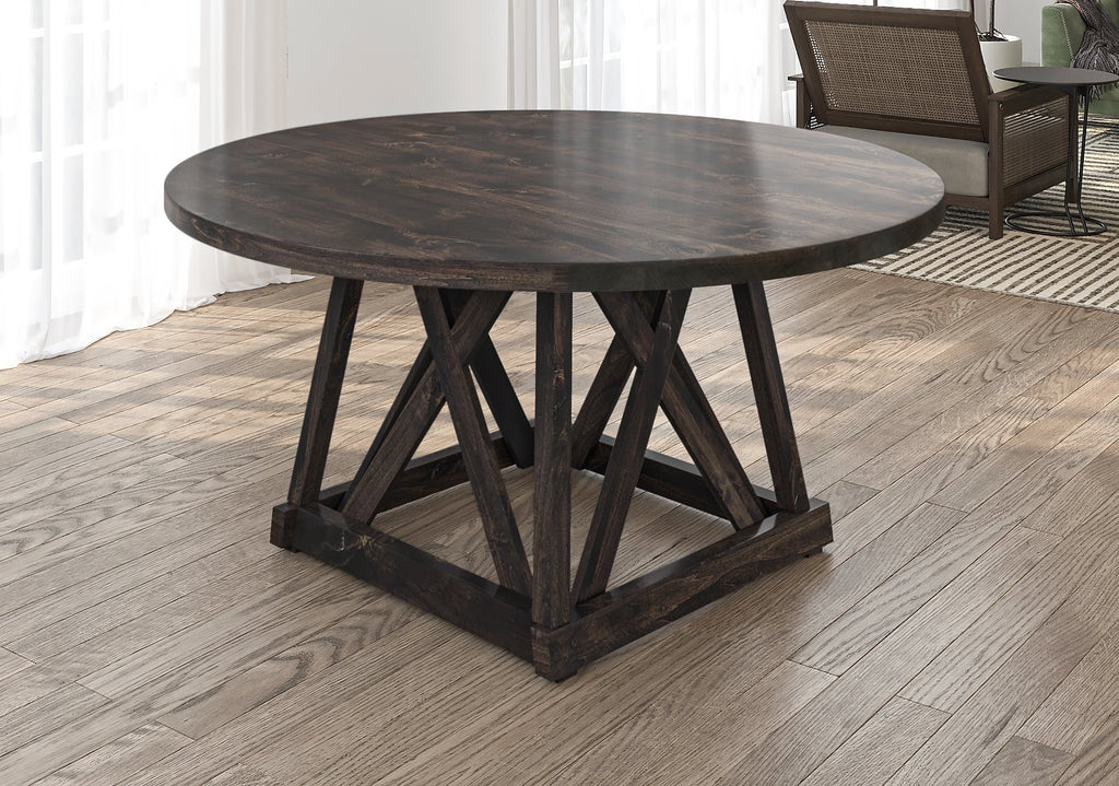Julia Round Dining Table with filled top knots in Charred Ember Finish finish
