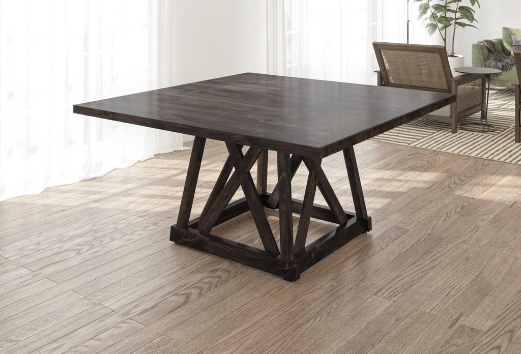Julia Square Dining Table with Filled Knots in Charred Ember Finish