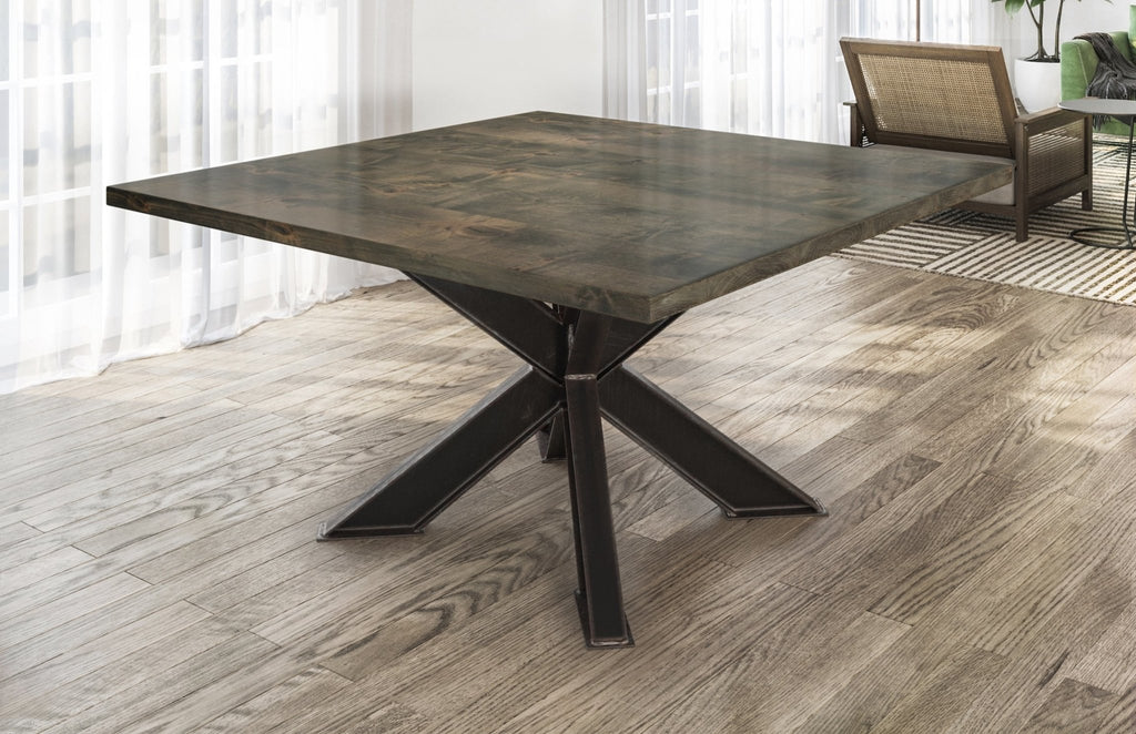 Square Shiloh Industrial Pedestal Table in Deep Grey Finish