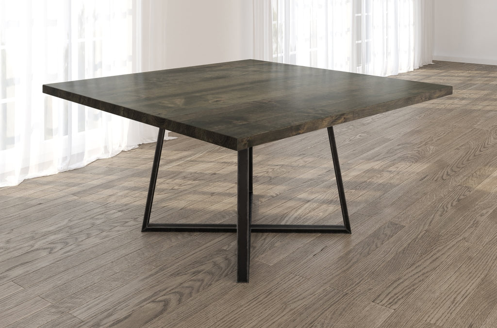 Square Watson Industrial Steel Pedestal Table with Filled Knots in Deep Grey finish.