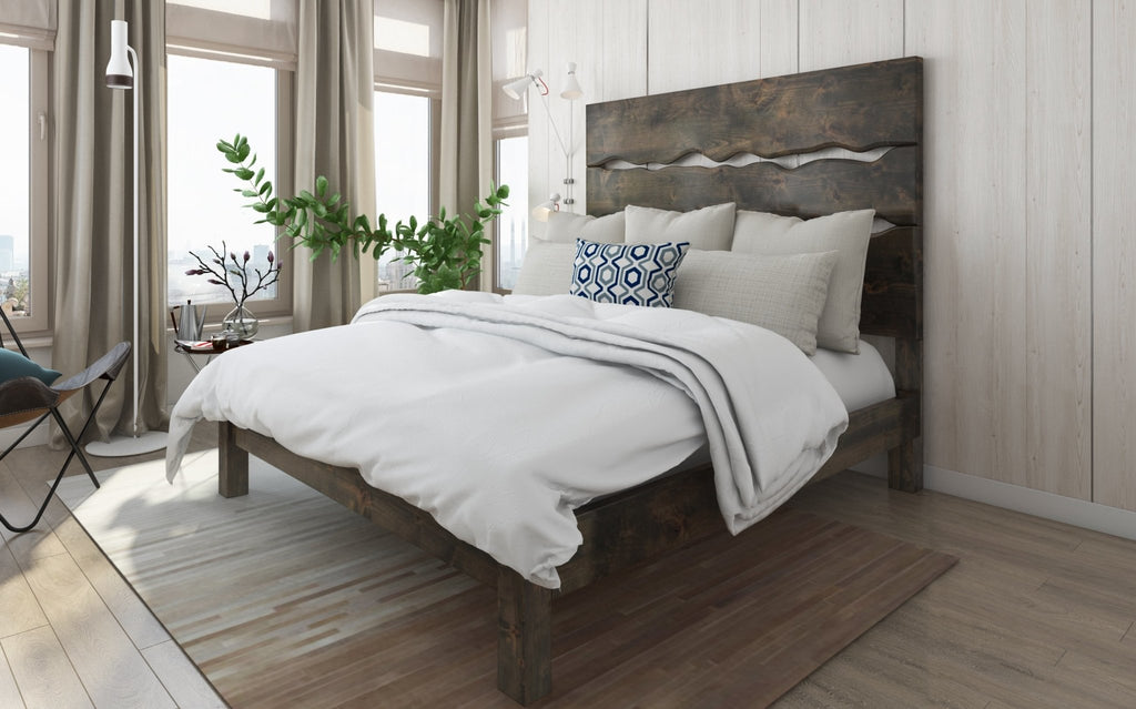Queen Live Edge Bed in Deep Grey Finish