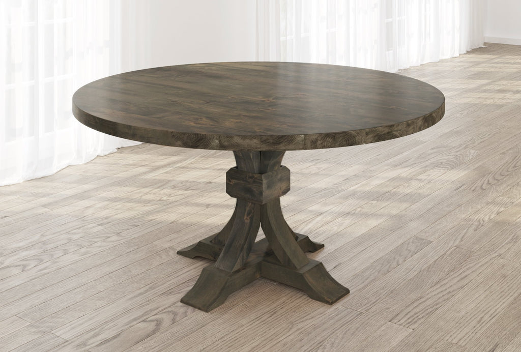 Violet Hardwood Round Table with table top knots filled in Deep Grey finish