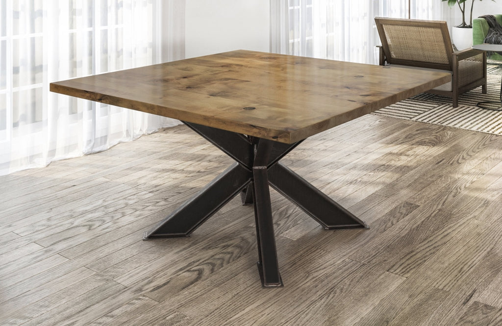 Square Shiloh Industrial Pedestal Table in Harvest Wheat Finish