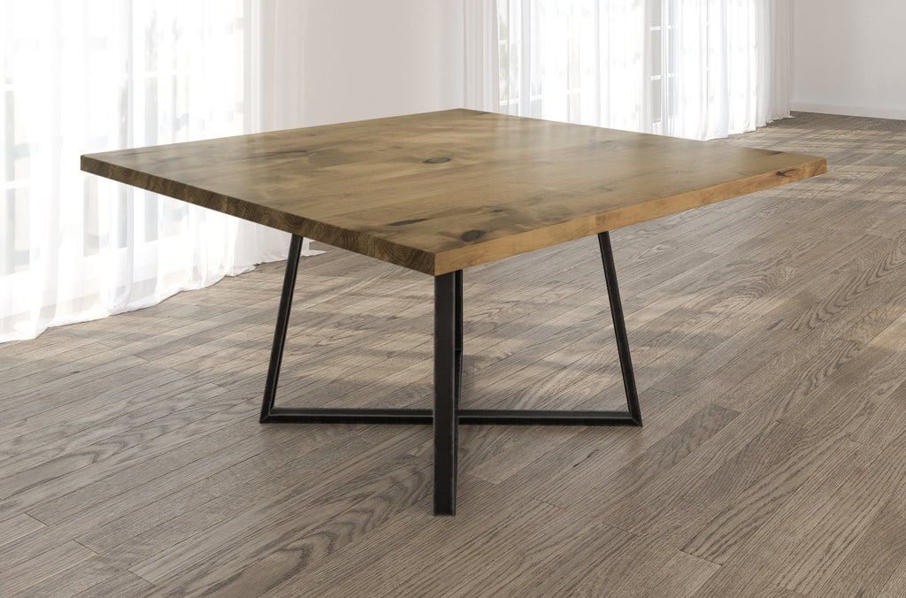 Square Watson Industrial Steel Pedestal Table with Filled Knots in Harvest Wheat finish