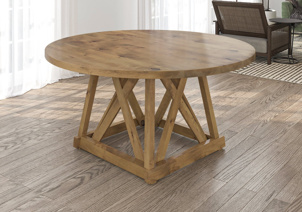 Julia Round Dining Table with filled top knots in Harvest Wheat finish