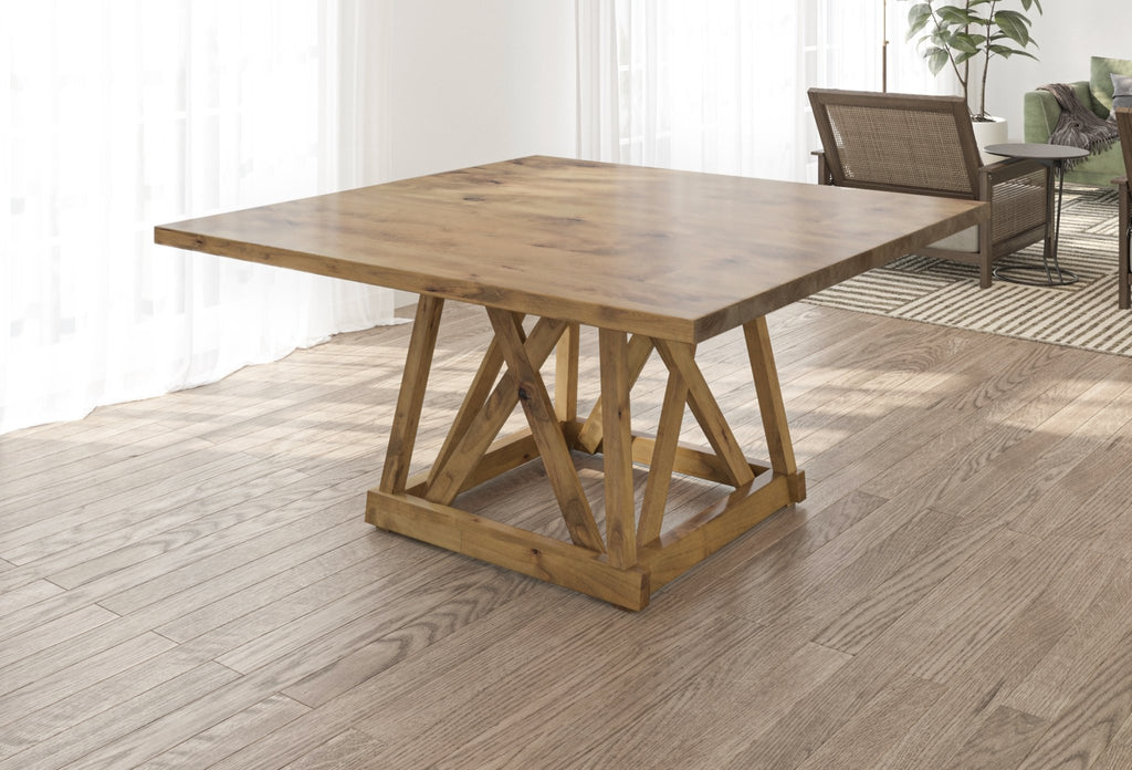 Julia Square Dining Table with Filled Knots in Harvest Wheat Finish