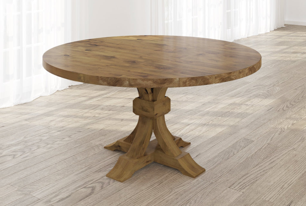 Violet Hardwood Round Table with table top knots filled in Harvest Wheat finish