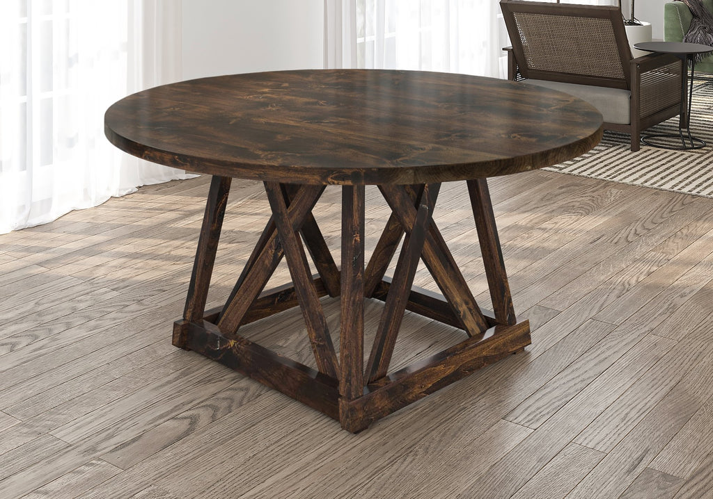 Julia Round Dining Table with filled top knots in Tobacco finish